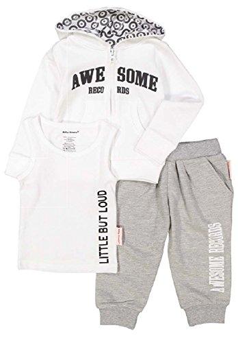 SILLY SOULS Awesome Records Fille bébé Coton Sweatsuit et Débardeur Blanc Gris - Blanc - 3 Mois