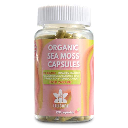 Sea Moss Capsules - 120 Capsules - Organic Jamaican Sea Moss, BladderWrack, Burdock Root, and Turmeric - Vegan - GMO Free - Over 2400MG Per Serving! - for a Healthy and Balanced Lifestyle