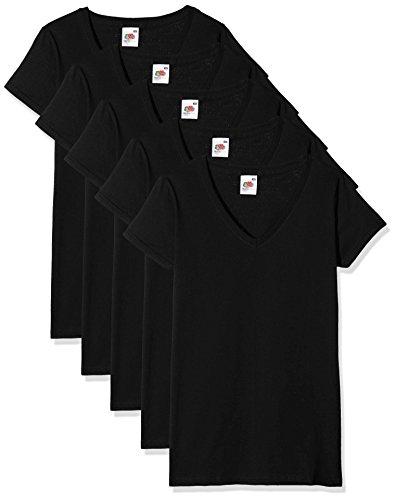 Fruit of the Loom Valueweight Camiseta, Negro, XS (Pack de 5) para Mujer