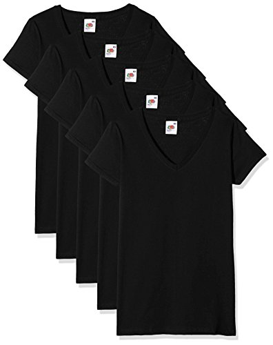 Fruit of the Loom Valueweight V Neck Lady-fit 5 Pack - T-shirt - Femme, lot de 5, Noir (Black 36), XS (Taille fabricant: XS)