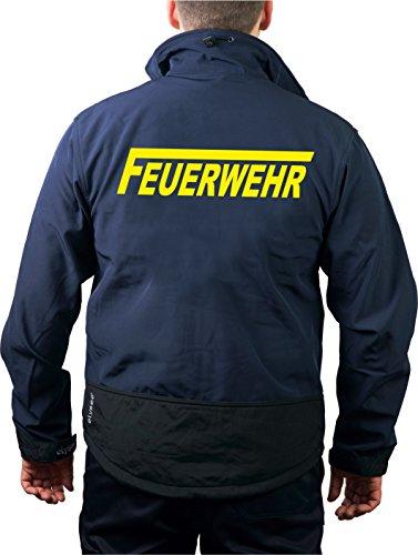 Feuer1 Veste de travail en softshell Navy, pompiers avec longue F jaune fluo XXL bleu marine