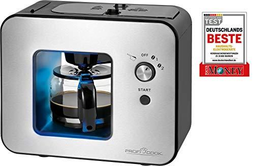 ProfiCook PC-KA 1152 Kaffeeautomat mit integriertem Kaffeeschlagwerk/Mahlwerk, 2in1 - Kaffeemahlen- und Brühen in Einem, 2 Mahlgradeinstellungen (fein und grob), Edelstahlfront