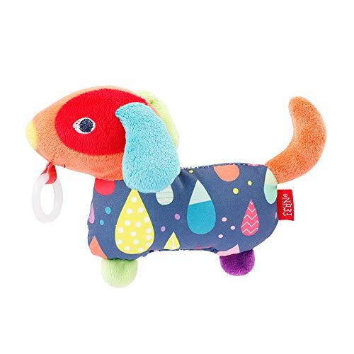 Fehn 055467 Schnullertier Hund COLOR Friends – Spieltier mit Rassel und Schnullerhalter, passend für alle Schnuller – perfekter Begleiter für zuhause und unterwegs – ab 0+ Monaten
