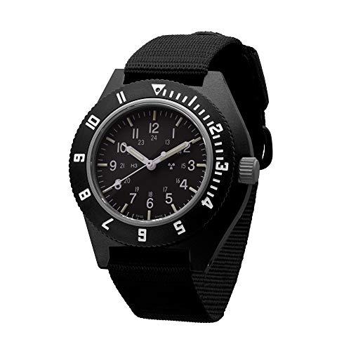 Marathon Navigator Swiss Made Military Issue Pilot's Watch with Tritium, Sapphire Crystal, Steel Crown, Battery Hatch, ETA F06 Movement (41mm) (Black - Sterile Dial)