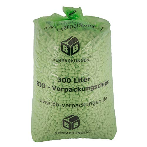 300 Liter BIO Verpackungschip grün ca. 2,2 x 4 cm Füllmaterial Packpolster Polsterchips BIG