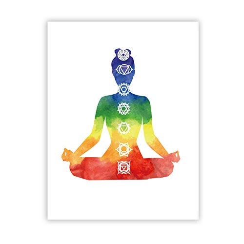 Colorido Lotus Yoga Wall Art Print Poster Acuarela Chakra Meditación Lienzo Pintura Decoración del hogar 40x50 cm