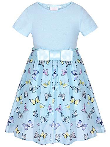 BONNY BILLY Mädchen Kleider Sommer Kurzarm Schmetterling Jerseykleid Baumwollkleid mit Schleife 7-8 Jahre/122-128 Blau