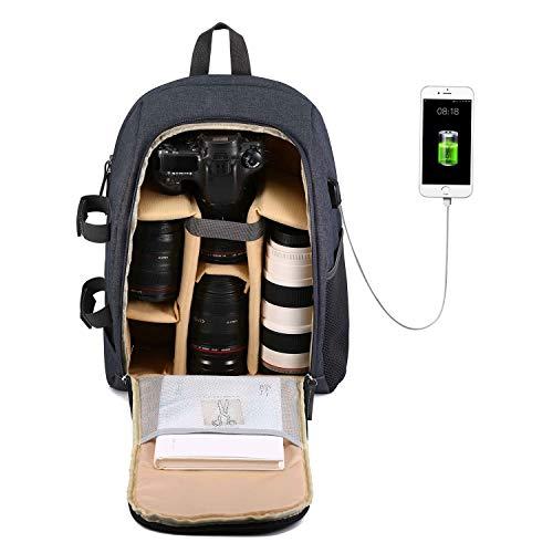 Selighting DSLR Kamerarucksack Fotorucksack Rucksack Kamera Wasserdichte Kameratasche für Canon Nikon Sony mit Stativhalterung (Gelb-USB)