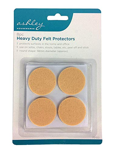 3x8 Pack Heavy Duty Felt Protectors for Use on Sofas, Chairs, Stools, Tables, etc. 38 mm Diameter by Ashley (Packaging May Vary)
