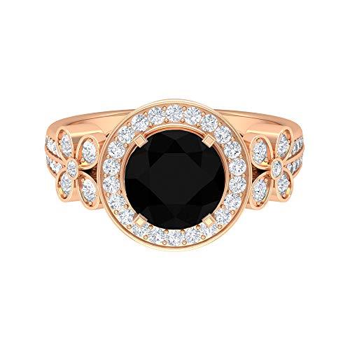 Anillo de halo solitario, 2,87 quilates, anillo de diamante negro, anillo de compromiso con detalles de diamante HI-SI, anillo de compromiso, 18K Oro rosa, Size:EU 50