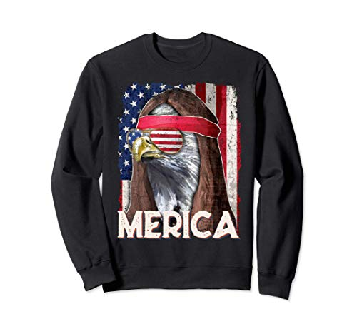 Merica Bald Eagle Mullet American Flag 4th of July Patriotic Sudadera