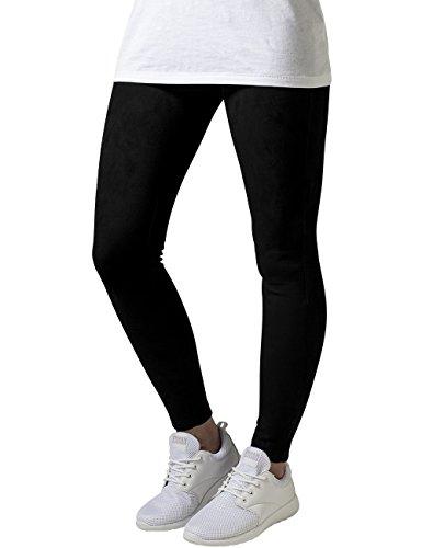 Urban Classics Damen Ladies Imitation Suede Legging, Schwarz (Black 7), W27/L31 (Herstellergröße: S)