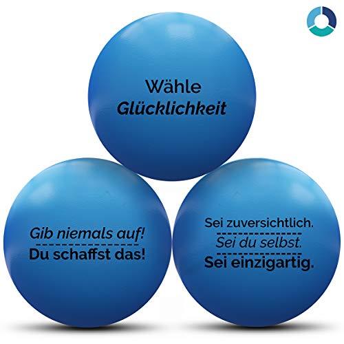 MindPanda 3X motivierende Stressbälle von Der perfekte Anti-Stressball für Erwachsende und Kinder zur Unterstützung bei Stressabbau und Angstzuständen. … (Blue, Medium)