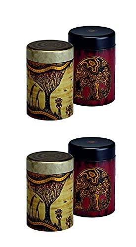 Eigenart - Bote para té (forma cilíndrica, 125 g, 2 unidades), diseño de inspiración africana