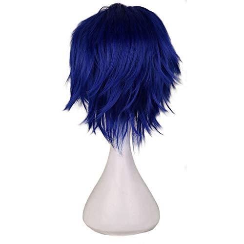 KYT-ma Rouge Blanc Noir Violet Cheveux Courts Cosplay Perruque Homme Party 30 cm Haute température Fibre Perruques de Cheveux synthétiques (Couleur : 19, Taille : 12inches)