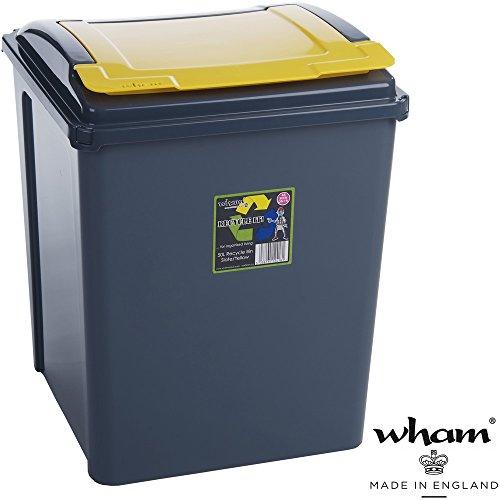 Recyclingtonne, Deckel abnehmbar, 40x40 cm, 50 L, graphit-gelb: Mülleimer 50 Liter, Abfalleimer, Deckel Eimer, Papierkorb, Abfallsammler, Abfalltonne, gelbe Tonne, Rycycling, Qualität ohne Kompromisse