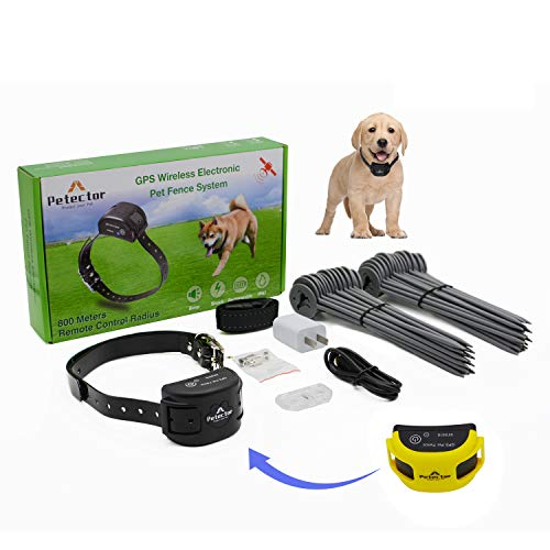 GPS Wireless Dog Fence System, Electric Invisible Pet Fence Containment System with Waterproof & Rechargeable Training Collar for Dogs & Cats Over 5 lb Outside Camping Yard (2021 Latest) (Yellow)