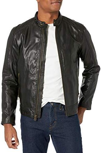 Cole Haan Men s Leather Moto Jacket Washed Black X Large product image