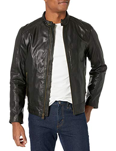 Cole Haan Men's Leather Moto Jacket, Washed Black, X-Large