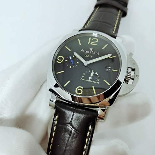 JFfactory Luxusmarke Männer Automatisch Mechanisch Edelstahl 1950 3 Tage GMT Gangreserve Grüne Nummer Leuchtende Uhr Schwarzes Leder