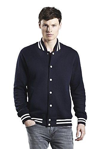 Underhood of London Navy Blue with White Stripes Varsity Jacket for Men | 100% Organic Cotton -Large