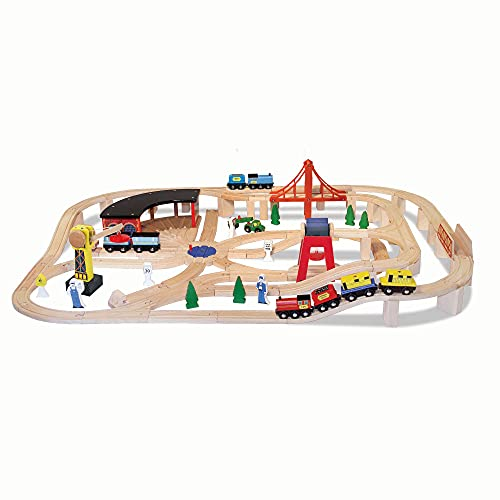 Melissa & Doug Deluxe Wooden Railway Train Set with 130 plus pcs For Toddlers