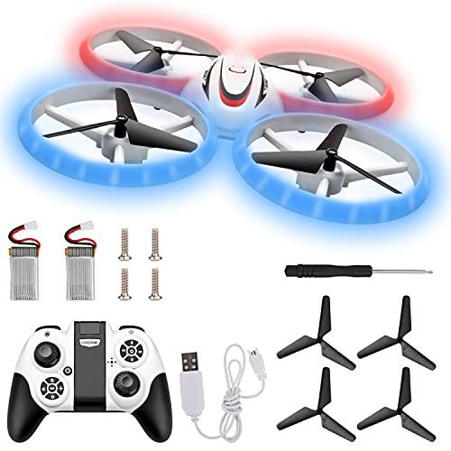 Herefun Mini Drone para niños, cuadricóptero teledirigido, Despegue / Aterrizaje de un Botón, 3D Flip y 2 baterías, Regalo para Niños y Principiantes (Mini Drone)
