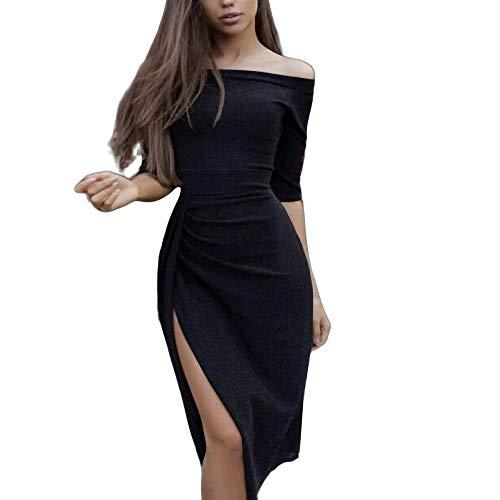 Yuhualiyi123 Kleid sexy Tasche hip offenes Wort Kragen funkelnden Kristall Abendkleid Kleid