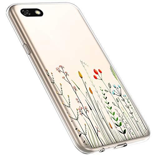 MoreChioce kompatibel mit Huawei Y5 2018 Hülle,Huawei Y5 2018 Handyhülle Blume,Ultra Dünn Transparent Weiche Silikon Schutzhülle Clear Crystal Rückschale Tasche Defender Bumper,Blumenzweig #1