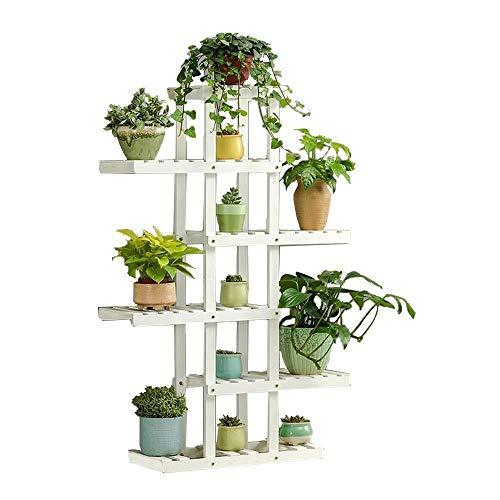 Plant Stand JT - Support de pot de fleurs en bois 5 couches asymétriques pour pots de fleurs - Support de rangement multi-couches - Couleur : blanc, taille : 130 x 94 x 26 cm