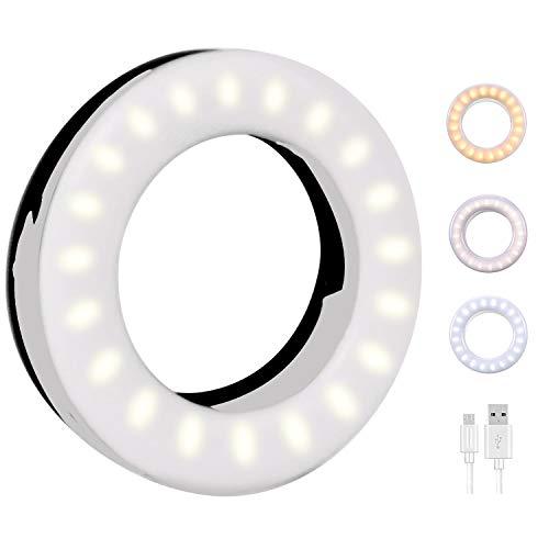 QcoQce Selfie Ring Light, 3 Tipi di Luminosità 40 LED Ring Light Ricaricabile, Lampada Selfie con Clip di Regolazione, Luce ad Anello Utilizzabile per Fotografia,Live Stream (NERO)