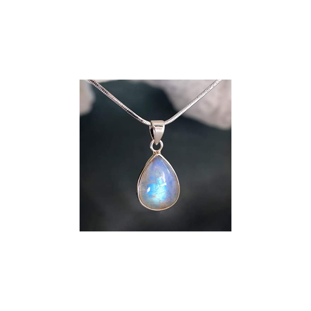Rainbow Moonstone Necklace June Birthstone 925 sterling silver