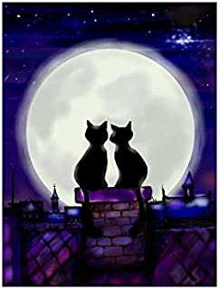InterestPrint Funny Two Cats In Love in the Night Looking on Moon Wall Art Posters Prints Abstract Artwork for Office Dorm Home Boys Girls Men's Women's Room, Unframed 18x24 Inch