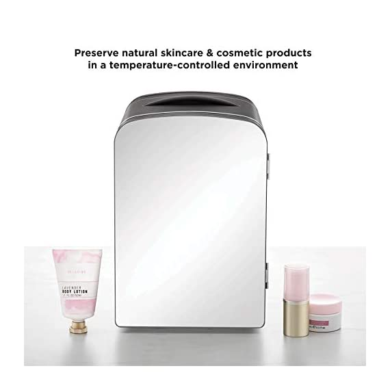 Chefman Portable Mirrored Personal Fridge 4 Liter Mini Refrigerator Skin Care, Makeup Storage, Beauty, Serums And Face… 3 MAKEOVER YOUR DESK: Compact design is perfect for storing your essentials at home, at work, in a dorm, or even on the go. Three chic color options and the mirrored door add an extra design flare to any space. Mirrored door makes this personal fridge the ideal accessory for your morning routine STORE COSMETICS BEAUTIFULLY: Extend the shelf life of your favorite skin care serums, cosmetic staples, or fresh face masks by keeping them chilled right on your vanity. Use the heat function to keep moist towels warm for a relaxing experience. CHILL OUT OR HEAT UP: Switch from heating to cooling at the flip of a switch. Keep your morning coffee warm or your afternoon smoothies chilled without ever leaving your desk. With 4-liter capacity, always keep up to 6 of your favorite 12 oz. canned beverages on hand.