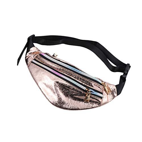 TENDYCOCO Riñonera para Mujer de Neón Bolsa metálica Brillante Bolso Wasit Bolsa Reflectante Impermeable Paquete de PU Bolsa de Viaje en la Playa (estallido Grietas Doradas)