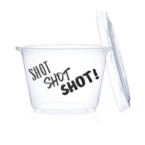 Plastic Jello Shot Cups with Lids, 100 Pack 2.5oz, Fun Design - Shot, Shot, Shot!, Free Jello Shot Recipe eBook Included! (Shot, Shot, Shot!, 100)