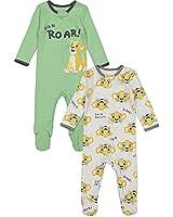 Disney Lion King Baby Boys Long Sleeve 2 Pack Sleep N' Play Footies 0-3 Months Green/Gray