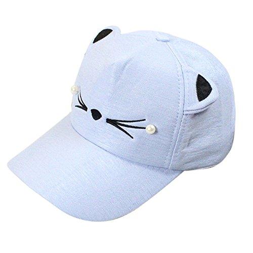 VECOLE Run Cap Spring Fashion Trends Perle Wild Niedlich Student Cat Ear Shade Baseball Cap Unisex für Draussen, Sport und Reisen (Hellblau)