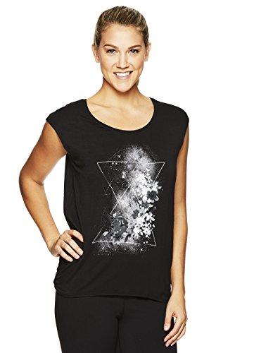 Gaiam Women's Dani Yoga Short Sleeve Graphic T-Shirt - Workout Top for Women - Black - Dani, Small