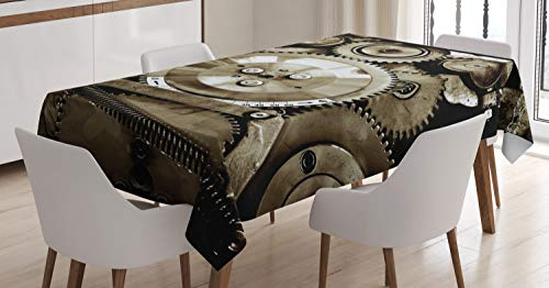 ABAKUHAUS industrieel Tafelkleed, Aged Gears, Eetkamer Keuken Rechthoekige tafelkleed, 140 x 170 cm, Sepia