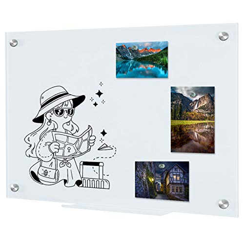 Pizarra magnética de cristal para pared, 45 x 60 cm, pizarra blanca de cristal con bandeja para bolígrafos