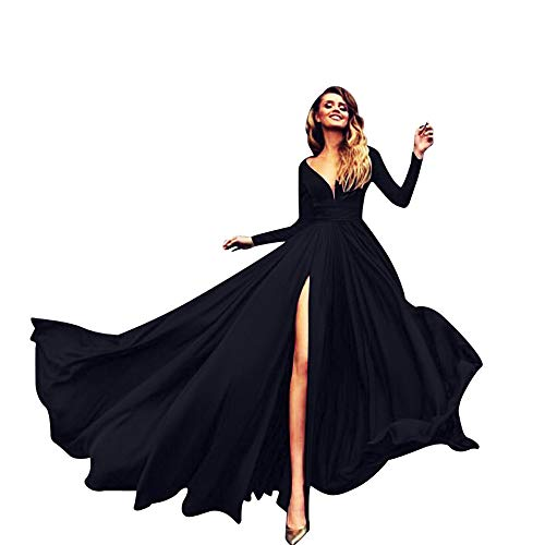 VEMOW Herbst Frühling Ballkleid Elegante Damen Langarm Cocktailkleid V-Ausschnitt Solide Sling Alles Party Mantel Langes Kleid(Schwarz, 40 DE/XL CN)