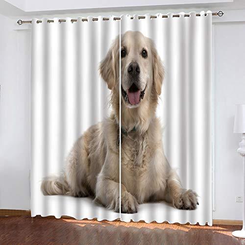 KLily 98% Blackout Dormitorio Nap Aislamiento Térmico Cortinas con Orificios Redondos Cute Dog Series Cortinas Impermeables Fáciles De Instalar Sala De Estar Balcón Cortinas Flotantes