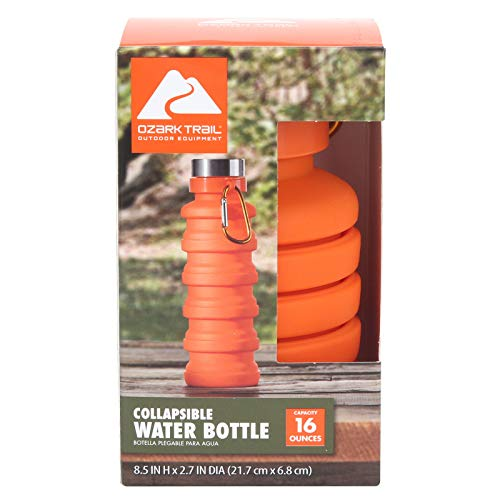 Ozark Trail 16 oz Collapsible Silicone Water Bottle with Carabiner - Orange