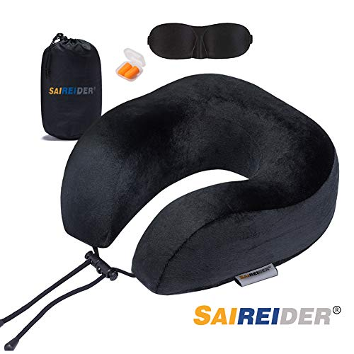SAIREIDER Travel Neck Pillow for Airplane Sleeping 100% Memory Foam Adjustable Travel Pillows with Storage Bag, Sleep Mask and Earplugs-Prevent The Heads from Falling Forward-Black