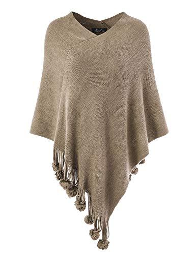 Ferand Damen Gemütlicher Warmer Poncho Pullover mit Mehrweg-Ausschnitt und Süßen Bommeln, One Size, Khaki