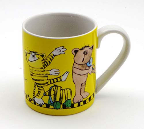 POS Handels GmbH Keramik Tasse | Janosch - Tigerente, Tiger, Bär und Frosch auf gelbem Hintergrund | 200 ml | Henkel-Becher im Geschenk Karton