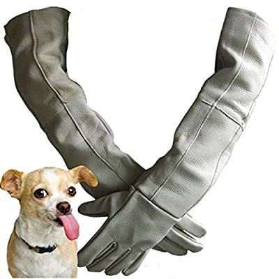 Pet Anti-bite Gloves, Cowhide Thickening And Long Anti-piercing Waterproof Zoo Training Dog Cat Bath Hand Protection, Gray, 60cm