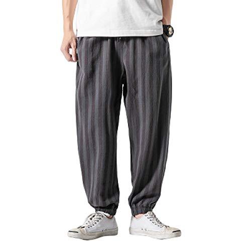 Pantalones Harem de Color de Contraste a Rayas para Hombre, Ropa de Calle Suelta, Tendencia Salvaje, sección Delgada, Pantalones cómodos con Cintura elástica XL