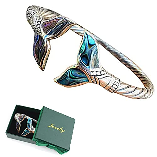 Pulsera de cola de sirena, concha de abulón y cola de sirena, estilo marino, con apertura ajustable, para mujeres y niñas, novia, regalo del día de San Valentín